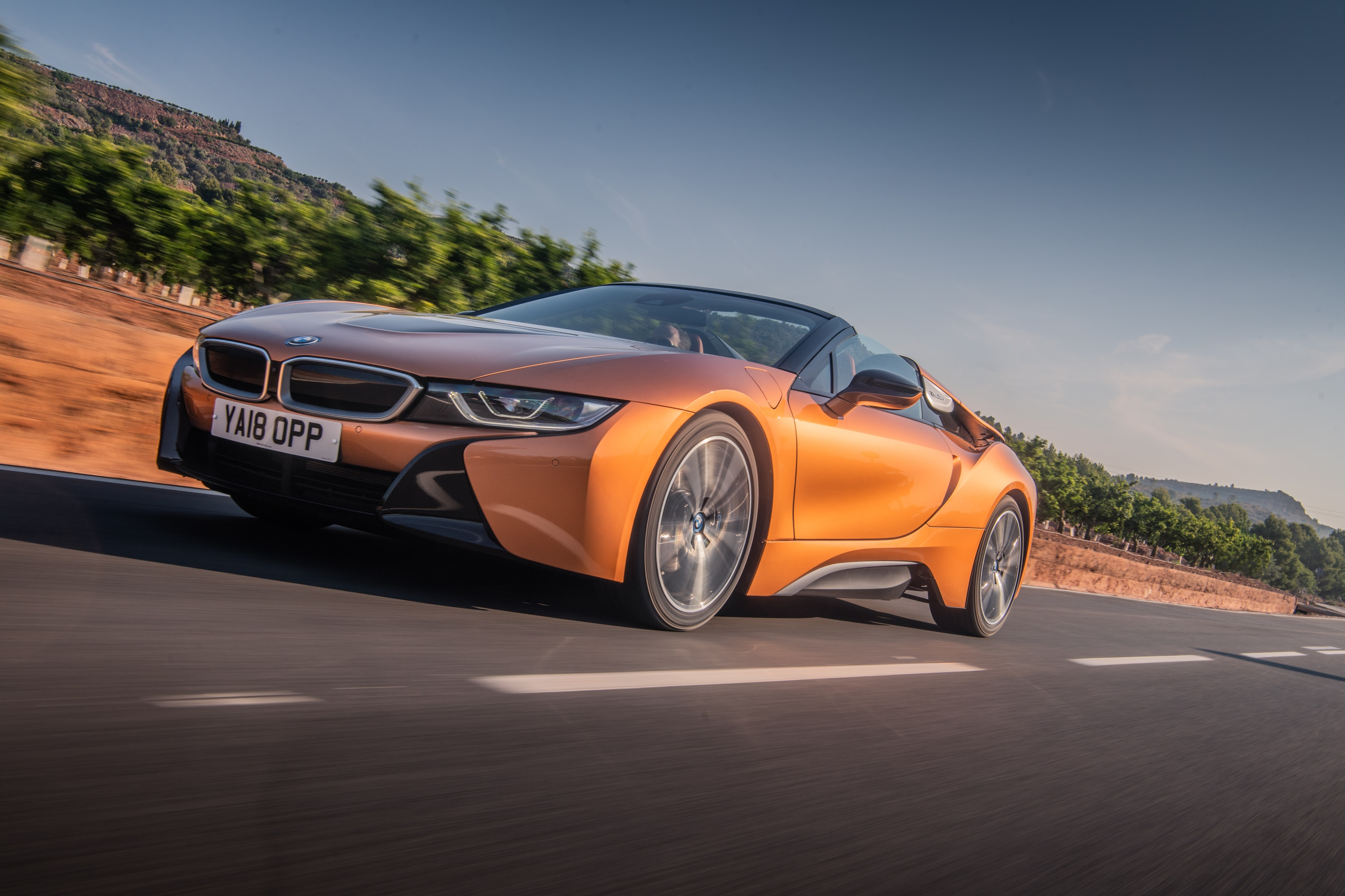 BMW i8 in Orange on the road