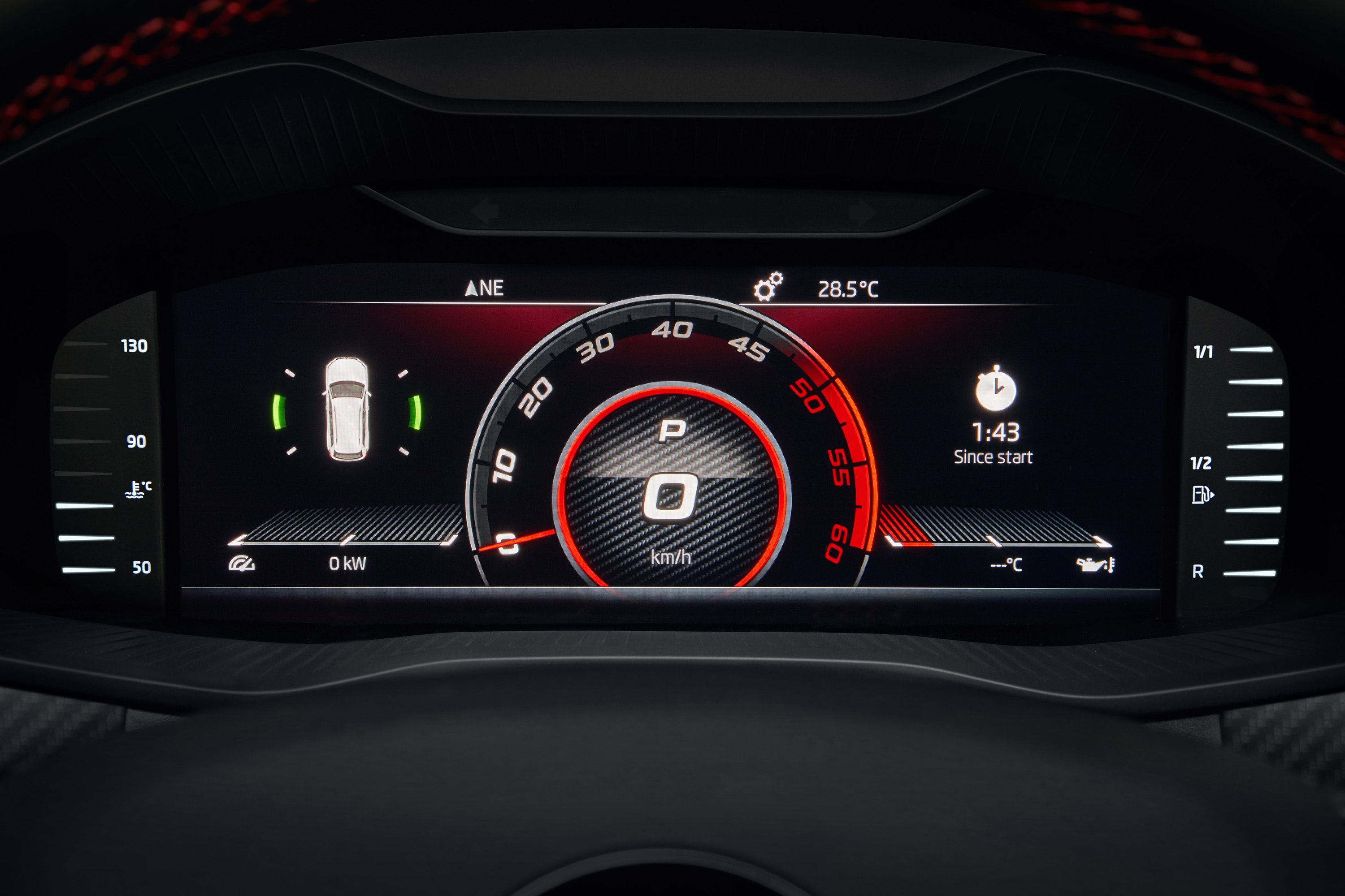 Close up of speedometer in a Kodiaq VRS
