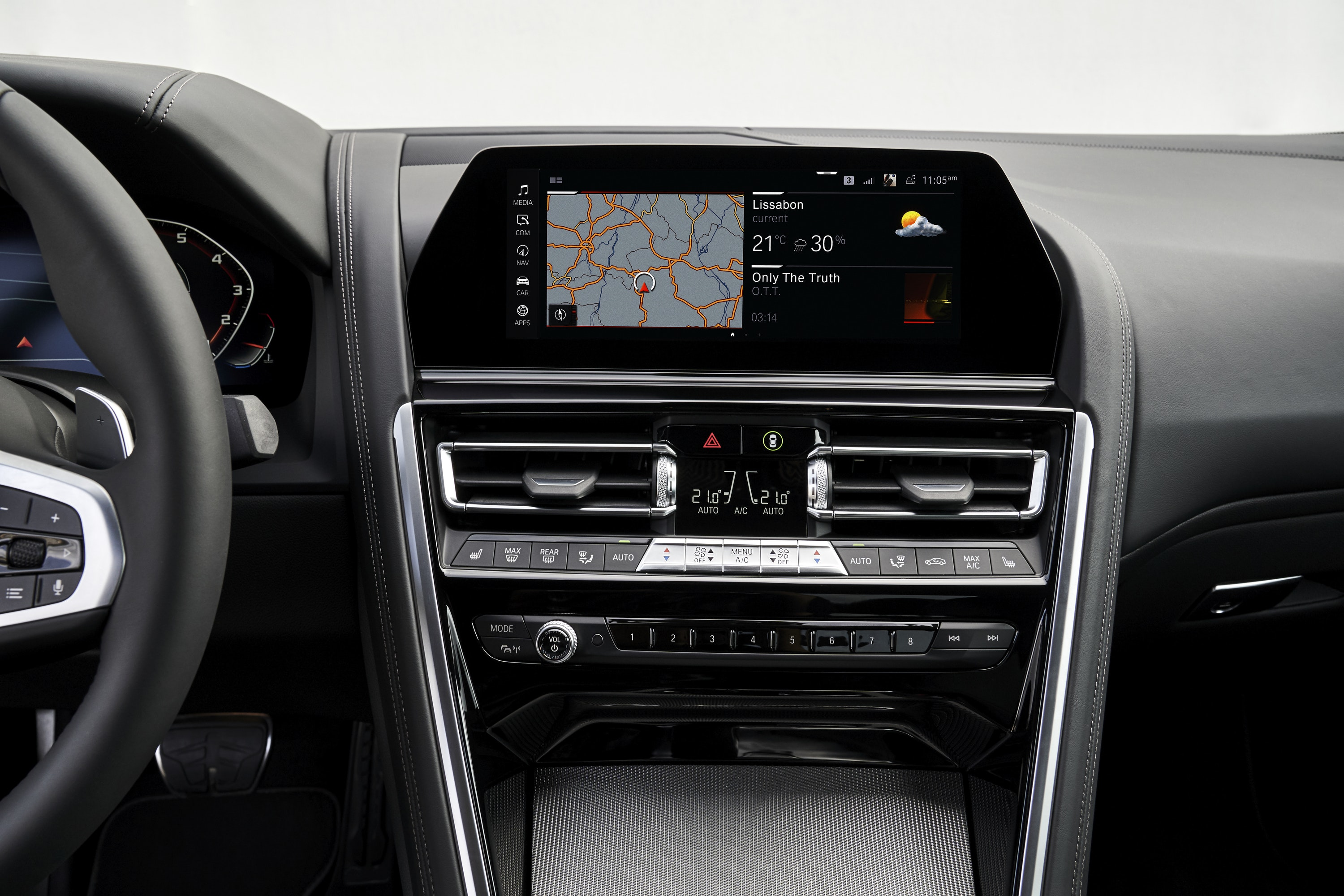 Close up of touch screen in BMW 8 Series