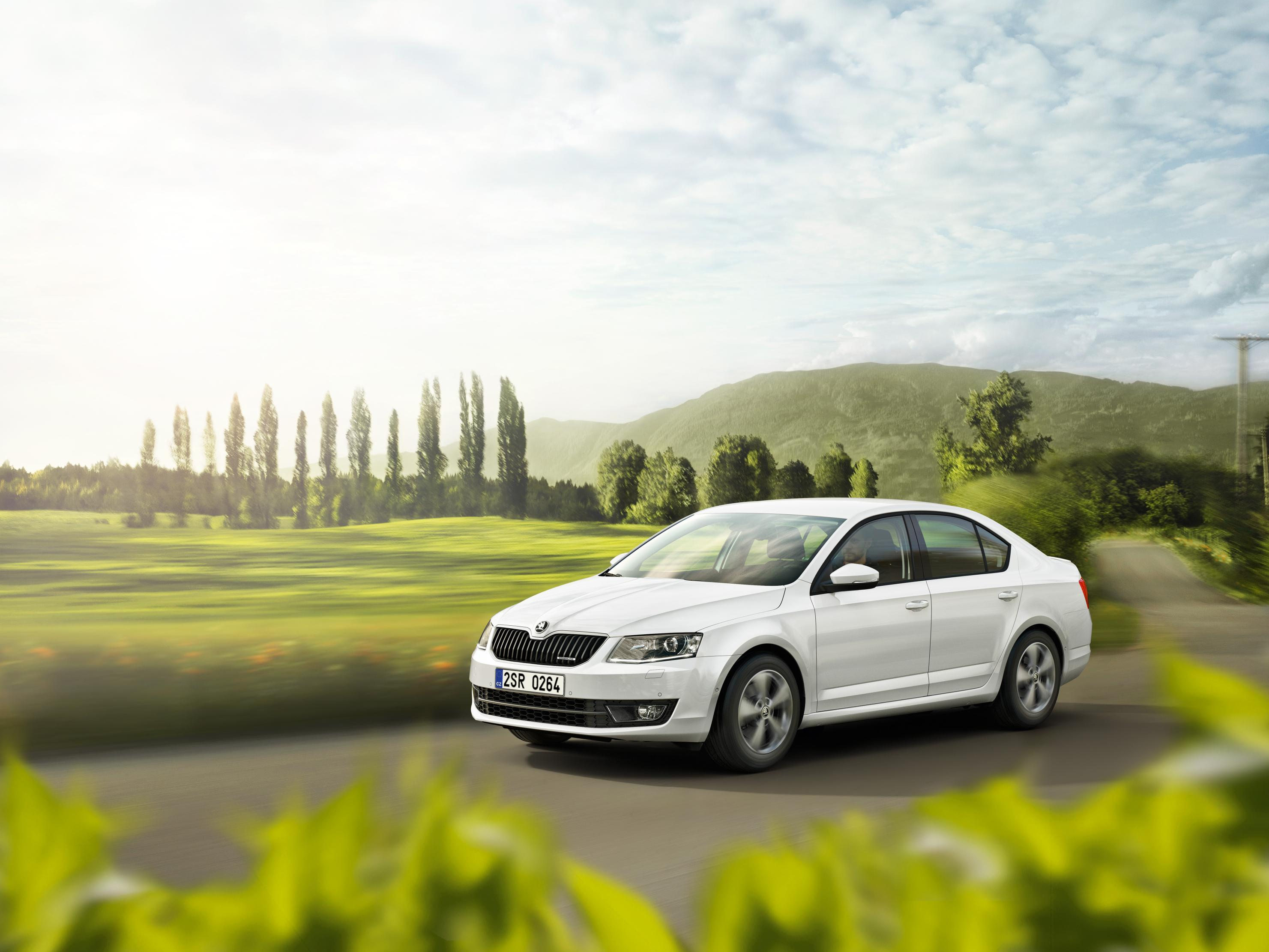 Skoda Octavia Estate driving next to green fields