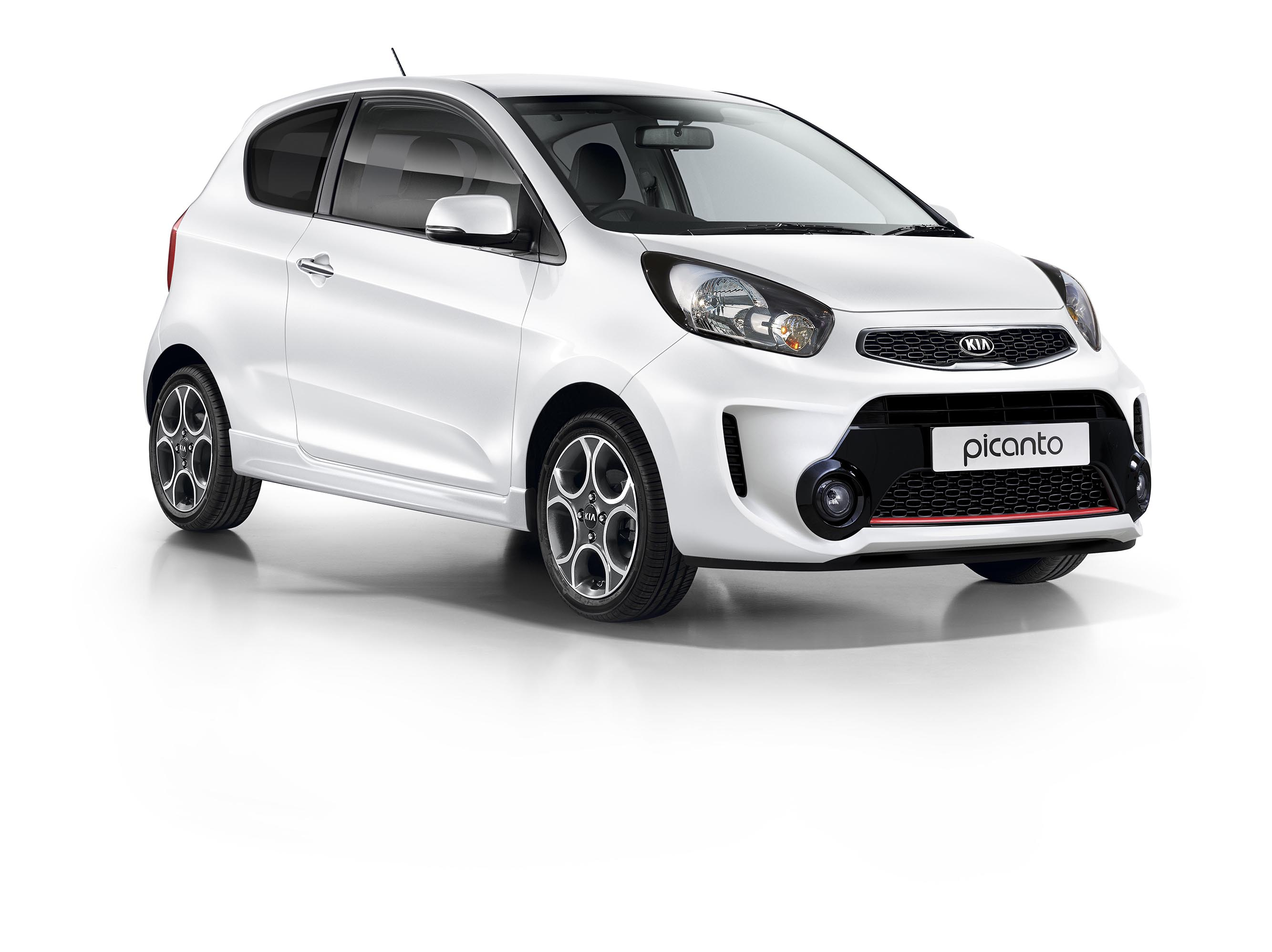 White Kia Picanto in front of a white background