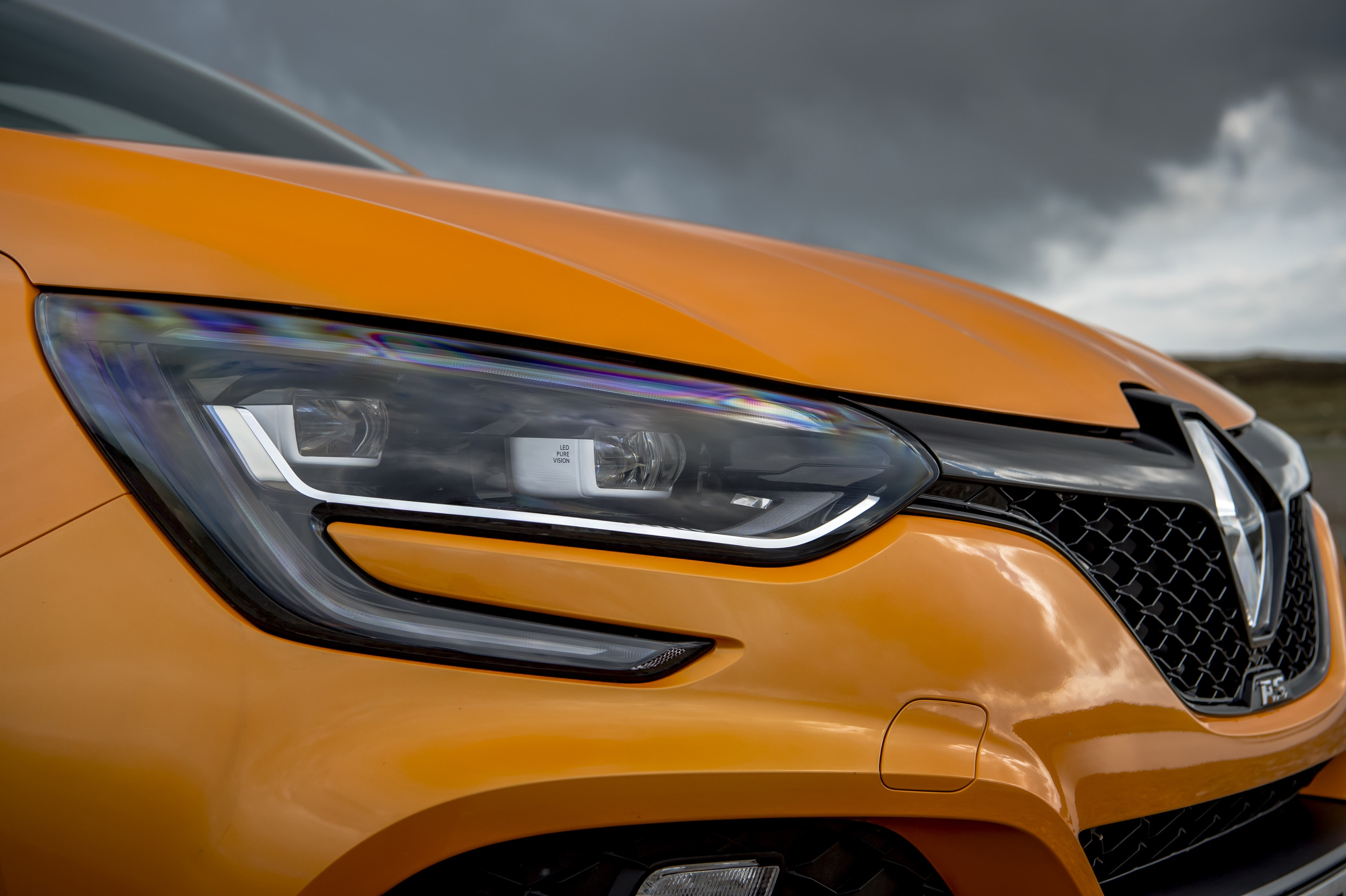close up of headlight of a Renault Megane