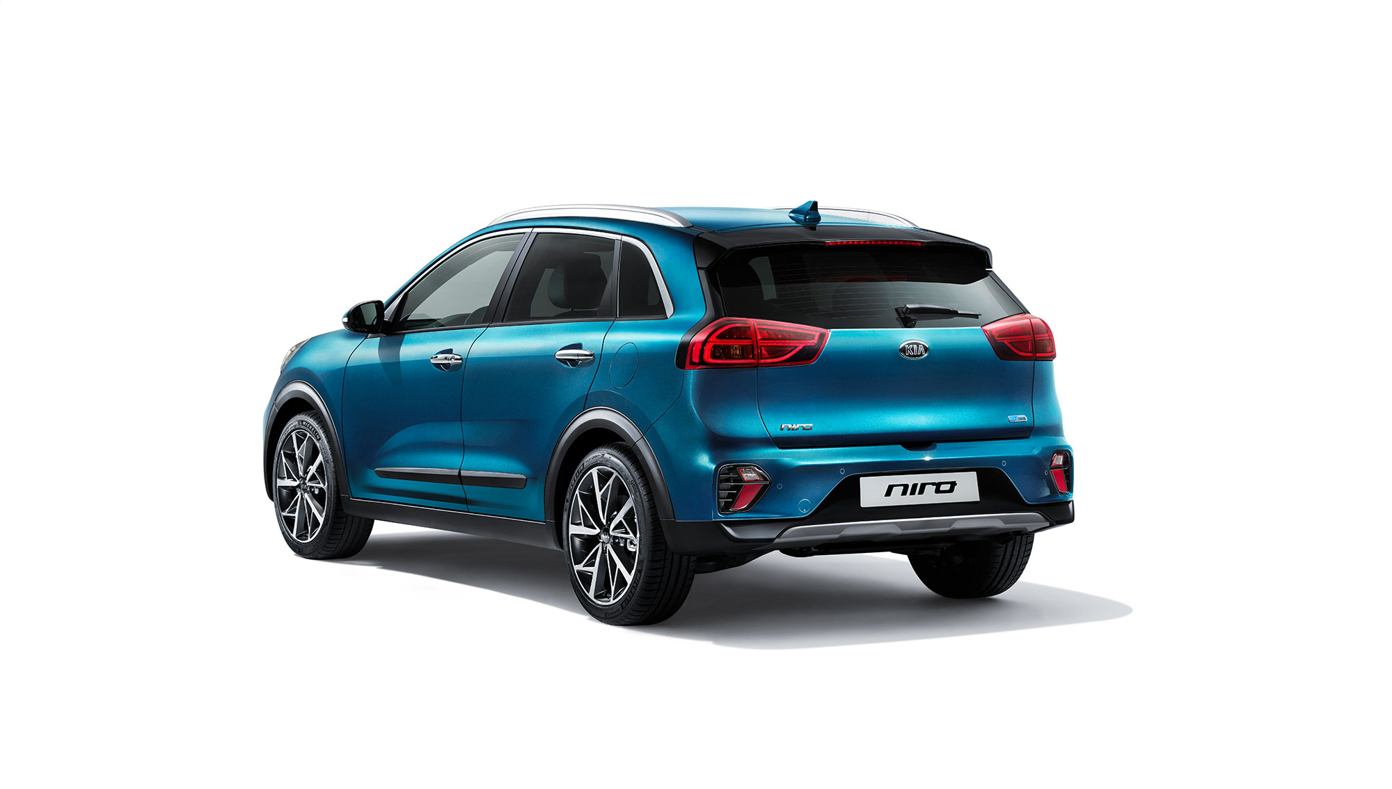 Rear of the Kia Niro Hybrid in Blue