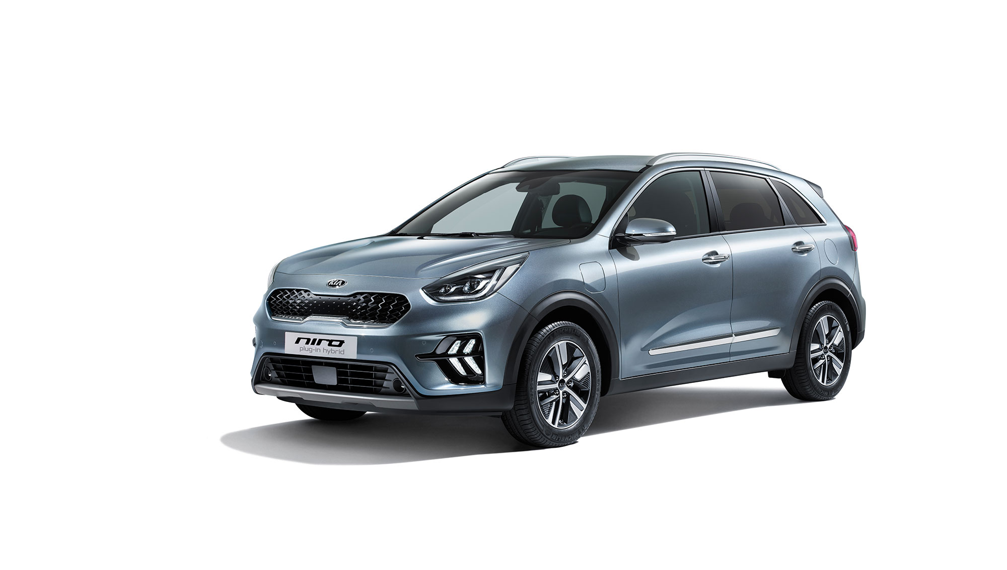 Front of the KIa Niro Hybrid in Grey